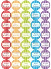 Happy Birthday Stickers - Rainbow Colours -  37mm Round Paper